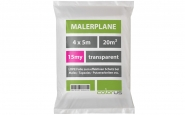 Malerplane gefaltet 15my LDPE transparent 4 x 5m
